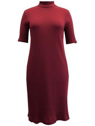 WOMEN Petite Ribbed Mock-Neck Dress, Created for Macy's