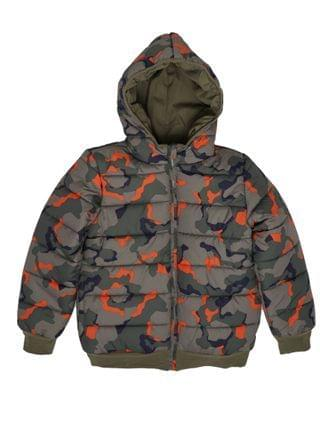 KIDS Big Boys Camo Full Zip Reversible Hooded Puffer Jacket