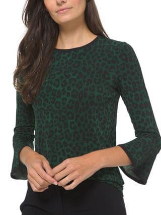WOMEN Plus Size Cheetah-Print Flutter-Sleeve Top