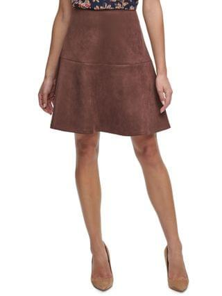 WOMEN Faux-Suede Flared Skirt