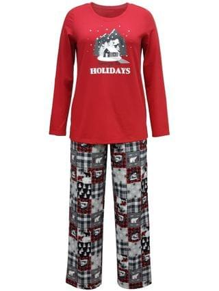 WOMEN Matching Women's Cabin Patchwork Family Pajama Set, Created for Macy's
