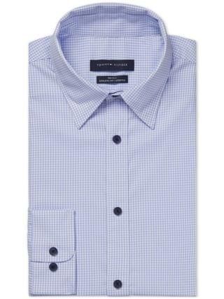 MEN Fitted Non-Iron TH Tech Performance Stretch No-Tuck Check Dress Shirt