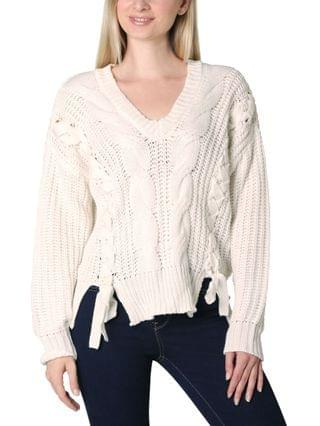 WOMEN Juniors' Lace Up Sweater