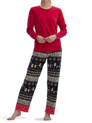 WOMEN Sueded Fleece Winter Scene Pajama Set