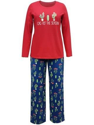 WOMEN Matching Plus Size Cactus The Season Family Pajama Set, Created for Macy's