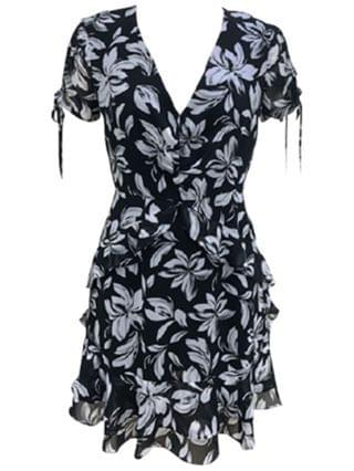 WOMEN Floral-Print Surplice Mini Dress, Created for Macy's