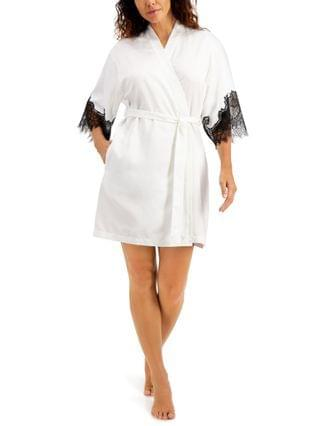 WOMEN INC Lace-Trim Satin Wrap Robe, Created for Macy's