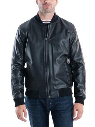 MEN Sutton Faux Leather Bomber Jacket, Created for Macy's