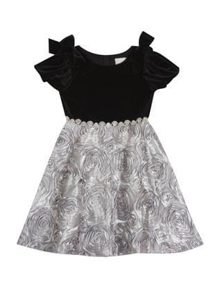 KIDS Little Girl Stretch Velvet Puff Sleevev Dress With Soutache Skirt