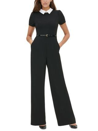 WOMEN Petite Contrast-Collar Belted Jumpsuit