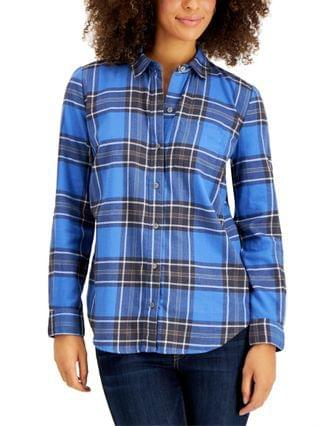 WOMEN Cotton Plaid Shirt, Created for Macy's