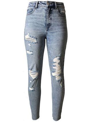WOMEN Juniors' Ripped Mom Jeans