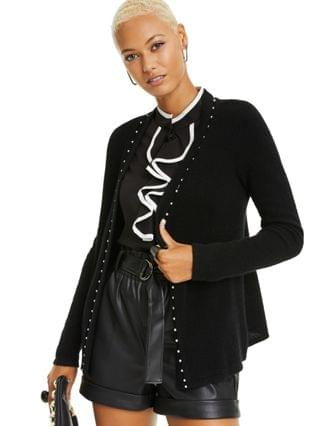 WOMEN Imitation Pearl Placket Cashmere Cardigan, Created for Macy's