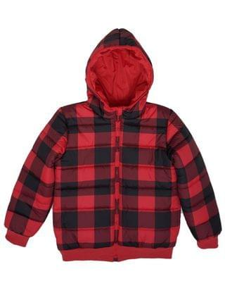 KIDS Big Boys Checkered Full Zip Reversible Hooded Puffer Jacket