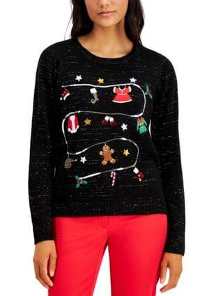 WOMEN Petite Christmas Laundry Pullover Sweater, Created for Macy's
