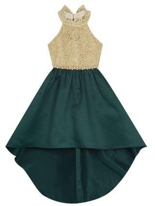 KIDS Big Girl Gold Cord Bodice To Hi-Lo Skirt