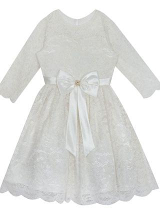 KIDS Big Girl lace skater dress with flutter sleeves