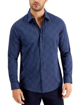 MEN Stretch Tile-Print Shirt, Created for Macy's