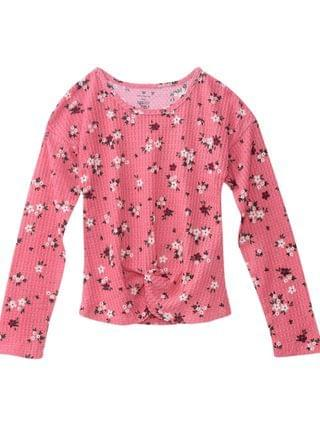 KIDS Big Girls Fashion Waffle Long Sleeve Top