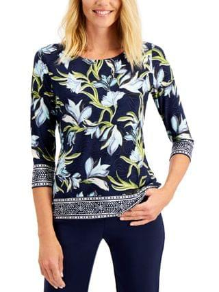 WOMEN Floral-Print Jacquard Top, Created for Macy's