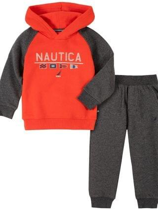 KIDS Little Boys Winter Fleece Zip Neck Pullover with Trim and Fleece Pant Set, 2 Piece