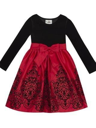 KIDS Toddler Girl Velvet Bodice To Flocked Satin Skirt