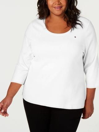 WOMEN Plus Size Cotton 3/4-Sleeves Top