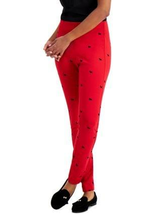 WOMEN Petite Printed Pont -Knit Skinny Pants, Created for Macy's