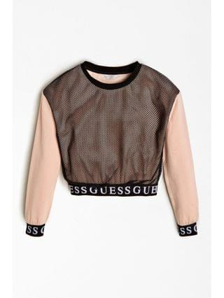 KIDS Big Girls French Terry Popover with Mesh Overlay Sweatshirt