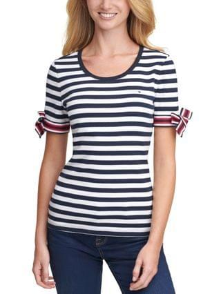 WOMEN Striped Tie-Sleeve Cotton Top