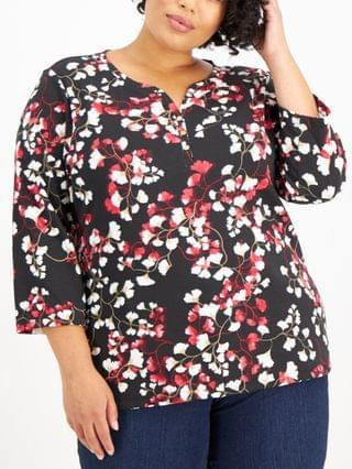 WOMEN Plus Size Printed 3/4-Sleeve Henley, Created for Macy's