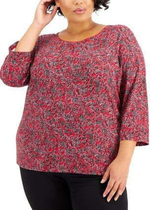 WOMEN Plus Size Printed 3/4-Sleeve Top, Created for Macy's