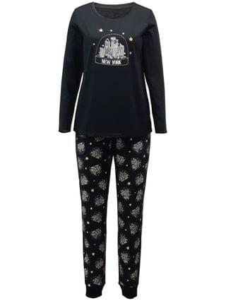 WOMEN Matching Plus Size NYC Snow Globe Family Pajama Set, Created for Macy's