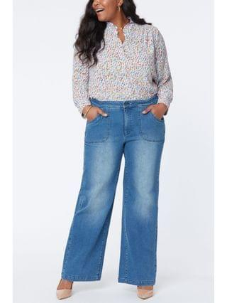 WOMEN Plus Size Utility Pocket Wide Leg Trouser Jeans