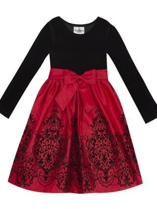 KIDS Big Girl Velvet Bodice To Flocked Skirt