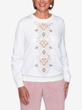 WOMEN Missy Glacier Lake Center Scroll Embroidery Top