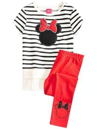 KIDS Little Girls 2-Pc. Minnie Mouse Silhouette Top & Leggings Set