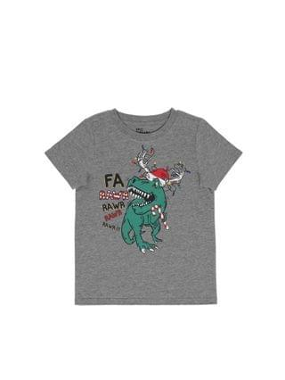 KIDS Little Boys Short Sleeve Holiday Dino Graphic T-shirt