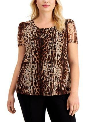 WOMEN INC Plus Size Printed Puff-Sleeve Top, Created for Macy's