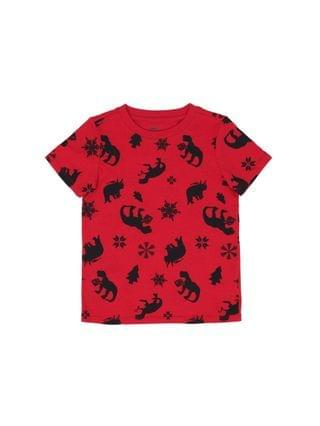 KIDS Little Boys Short Sleeve All Over Holiday Dino Graphic Print T-shirt