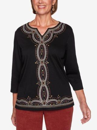 WOMEN Missy Catwalk Embroidered Center Knit Top