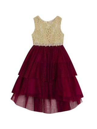 KIDS Little Girl Embroidered Dress With Tiered Skirt