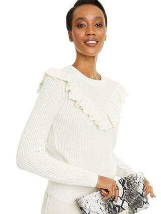 WOMEN Cashmere Imitation Pearl Detail Ruffle Sweater, Created for Macy's
