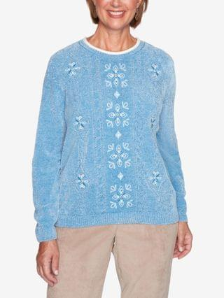 WOMEN Missy Dover Cliffs Medallion Center Embroidery Sweater