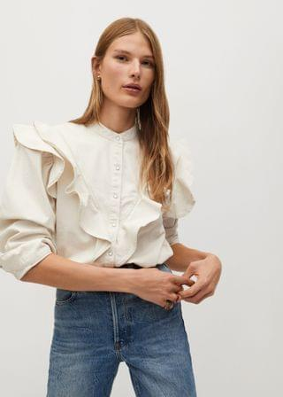 WOMEN Ruffled cotton shirt