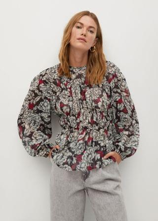 WOMEN Printed pleated blouse