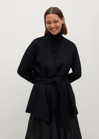 WOMEN Belted wool-blend jacket