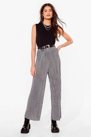WOMEN New Houndstooth Here Wide-Leg Pants