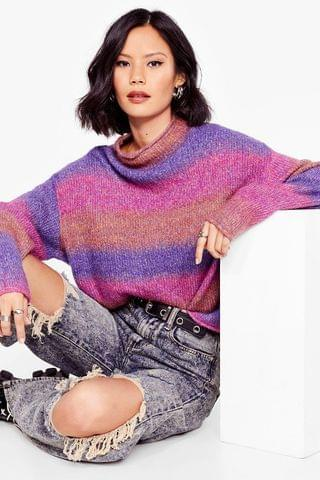 WOMEN Some Stripe of Love Knit High Neck Sweater