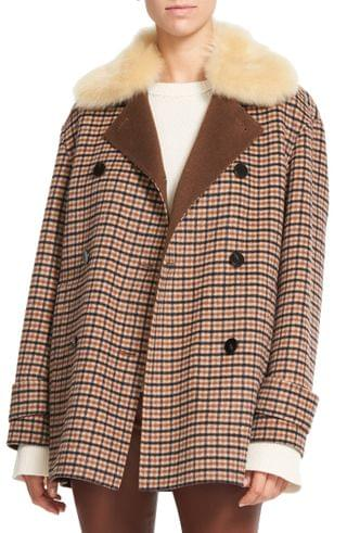 WOMEN Theory Check Wool Blend Coat with Genuine Shearling Collar